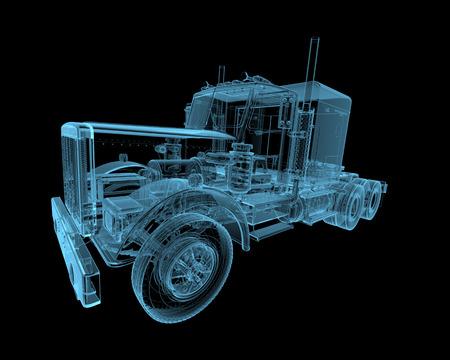 Truck x-ray blauw transparant geïsoleerd op zwart Stockfoto