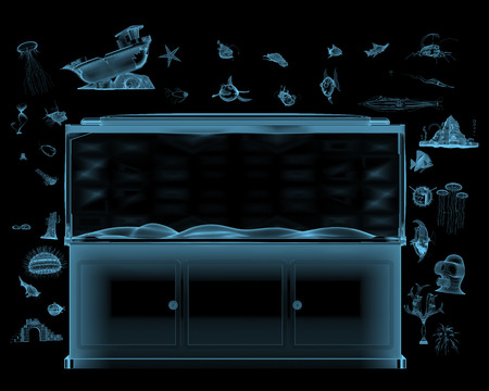 Aquarium with toys exploded x-ray blue transparent isolated on black
