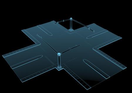 Straat kruising x-ray blauw transparant geïsoleerd op zwart