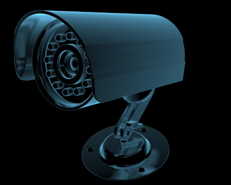 big brother spy: Cctv surveillance camera x-ray blue transparent isolated on black Stock Photo