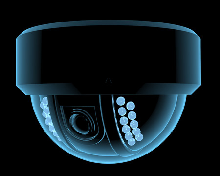 Cctv bewakingscamera x-ray blauwe transparante geïsoleerd op zwart