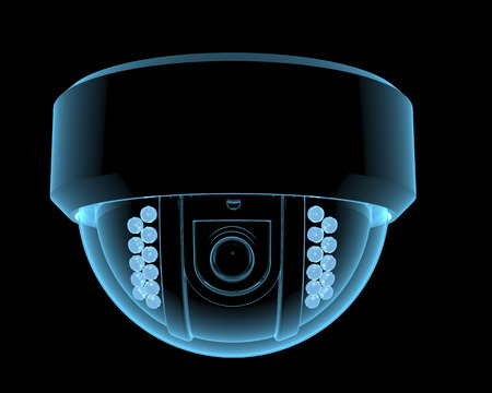 Cctv bewakingscamera x-ray blauw transparant geïsoleerd op zwart Stockfoto