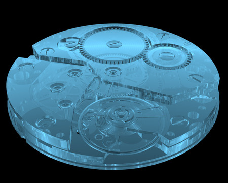 Watch internals x-ray blue transparent isolated on black Stock Photo