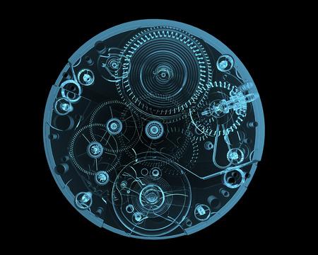 Horloge internals x-ray blauw transparant geïsoleerd op zwart