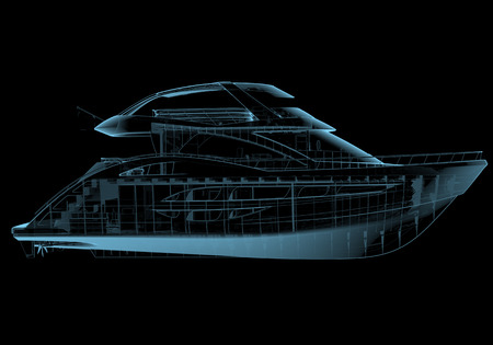 Luxury yacht x-ray blue transparent isolated on black