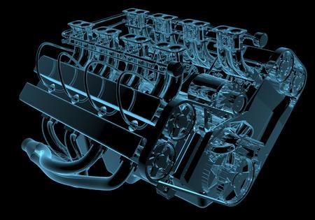 motor coche: Radiografía del motor de coche azul transparente aislado en negro