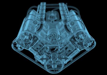 Automotor x-ray blauw transparant geïsoleerd op zwart