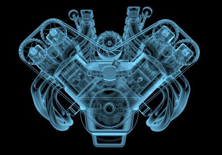 moteur de voiture x-ray bleu transparent isolé sur fond noir