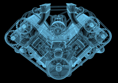xray machine: Car engine x-ray blue transparent isolated on black