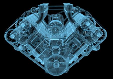 Radiografía del motor de coche azul transparente aislado en negro