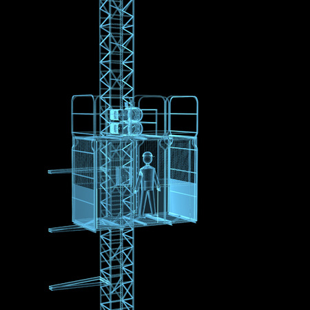 Construction crane x-ray blue transparent isolated on black Stock Photo