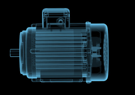 internals: Electric motor with internals x-ray blue transparent isolated on black