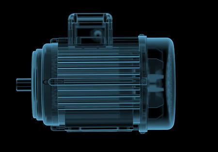 Elektromotor met internals x-ray blauw transparant geïsoleerd op zwart