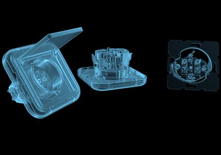 Stopcontact x-ray blauw transparant geïsoleerd op zwart