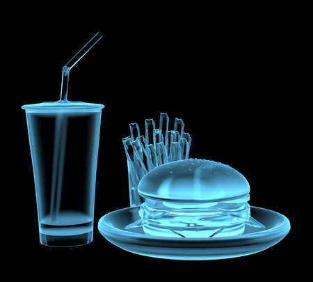 Fast food burger x-ray blue transparent isolated on black Stock Photo