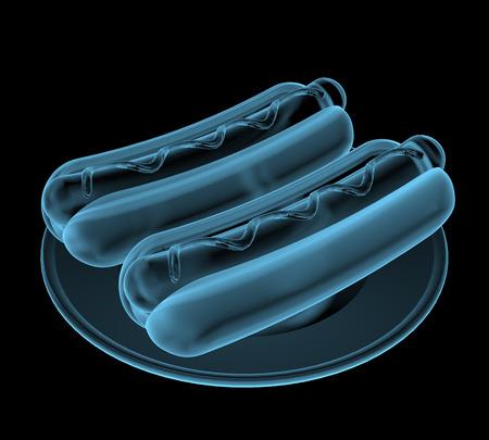 Fast food hot-dog x-ray blauw transparant geïsoleerd op zwart Stockfoto
