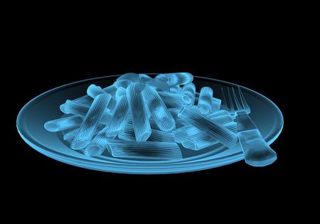 Fast food pasta x-ray blauw transparant geïsoleerd op zwart