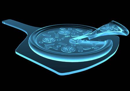 Fastfood piza x-ray blauw transparant geïsoleerd op zwart Stockfoto