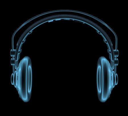 Koptelefoon x-ray blauw transparant geïsoleerd op zwart