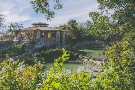 texas tea: A wide shot of the Japanese Tea Garden Pavillion in San Antonio, Texas Stock Photo