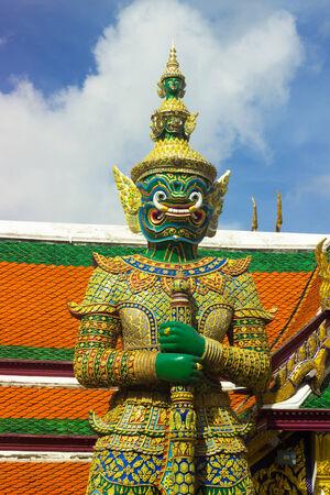 Giant green of Wat Phra kaew are Thai art form Thai literature,to decorate at Grand palace, Bangkok,Thailand. photo