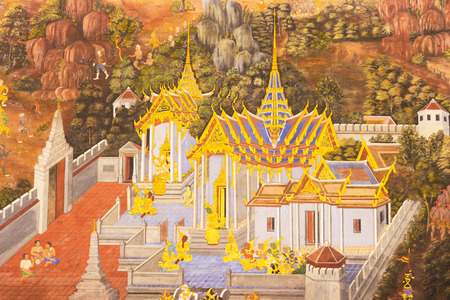 Art on the wall Thai art form litterature to pant on the wall Wat Phra kaew, Bangkok,Thailand. photo