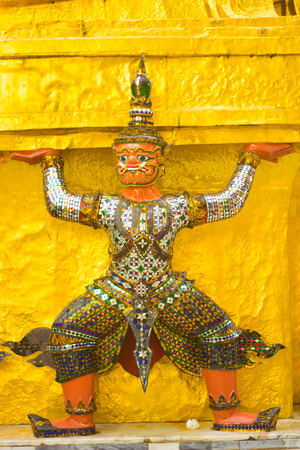 The monkey is characture form Thai literature to decorate Wat Phra kaew inside grand palace Bangkok, Thailand. photo