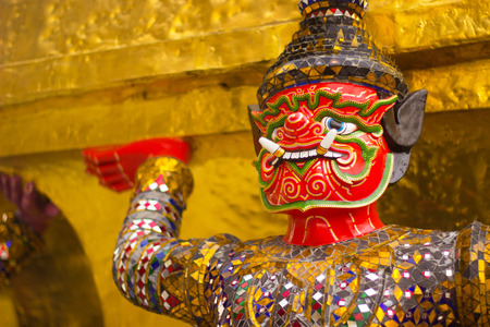 Monkey red are charature form Thai literature to decorate at Wat Phra kaew inside grand palace Bangkok, Thailand. photo