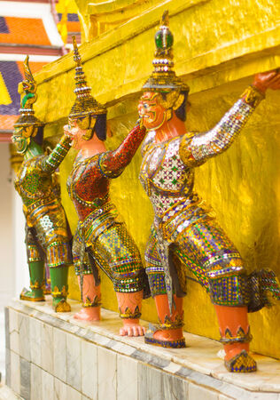 Monkey are characture form Thai literature to decorate at Wat Phra kaew inside grand palace Bangkok, Thailand. photo
