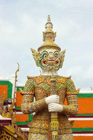 Giant white are Thai art form Thai literature,to decorate Wat Phra Kaew inside Grand palace, Bangkok,Thailand. photo