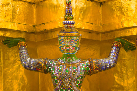 the grand palace: The monkey is character from Thai literature to decorate Wat Phra kaew inside grand palace Bangkok, Thailand. Stock Photo