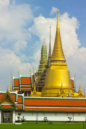 the grand palace: Wat Phra kaew while ancient remains to important  inside Grand palace Bangkok, Thailand.