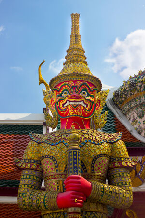 Giant  red  from character in Thai literature to decorate  Wat Phra Kaew ,Bangkok, Thailand. photo