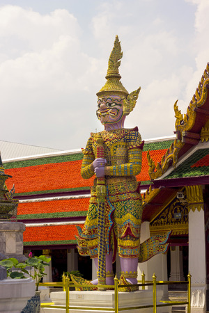 literature: Giant purple  from character in Thai literature to decorate  Wat Phra Kaew ,Bangkok, Thailand. Stock Photo