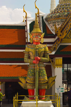 literature: Giant  red  from character in Thai literature to decorate  Wat Phra Kaew ,Bangkok, Thailand.