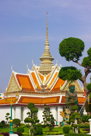 statuary garden: Church Wat Arun are architecture style Thai art and  ancient remains important of Thailand.