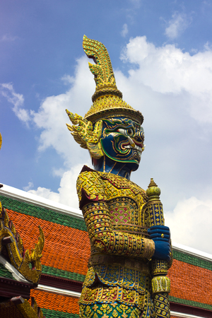 Giant  blue  from character in Thai literature to decorate  Wat Phra Kaew ,Bangkok, Thailand.