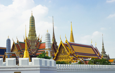 The morning view Area out door Wat Phra Kaew while ancient remains im portant of Thailand.