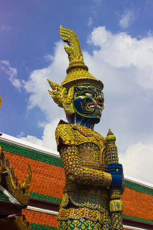 stupa: Giant  blue  from character in Thai literature to decorate  Wat Phra Kaew ,Bangkok, Thailand. Stock Photo