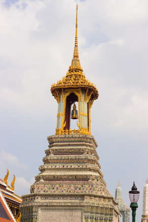 bell tower: Bell tower to build style Thai art to decorate in Wat Phra Kaew, Thailand. Stock Photo