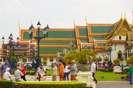 View Grand Palace while ancient remains important of Thailand.