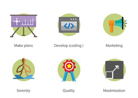 This is a colored flat business icons illustration.