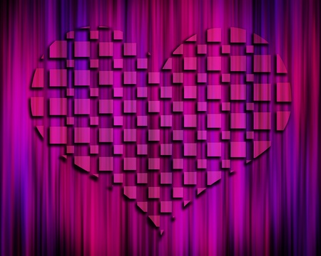 3D heart rising from dark purple abstract background