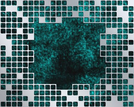 Abstract turquoise background with metal grid layer and place for text Stock Photo