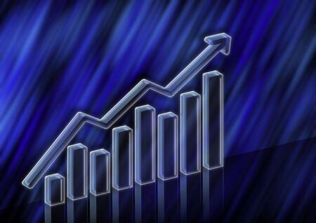 3D Illustration of stock value rising Stock Photo