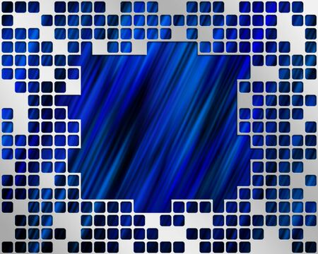 Abstract blue background with metal grid layer and place for text