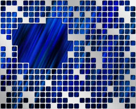 Abstract blue background with metal grid layer and place text