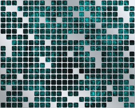Abstract dark turquoise background with metal grid layer
