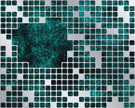 Abstract dark turquoise background with metal grid layer and place for text