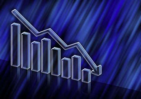 3D Illustration of market value decreasing on dark blue abstract background